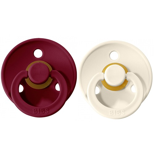 2 Chupetes BIBS Colours Ivory/Ruby 0-6
