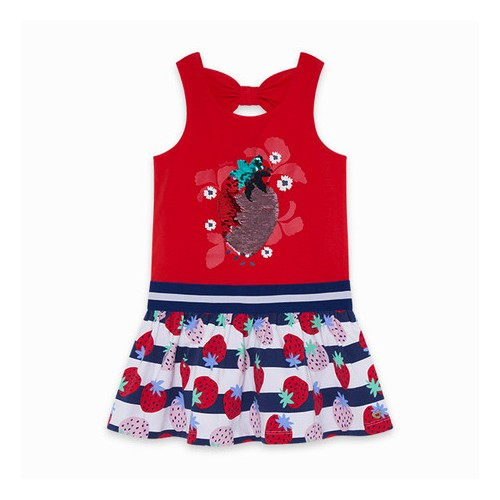 VESTIDO PUNTO LENTEJUELAS REVERSIBLES SWEET STRAWBERRIES