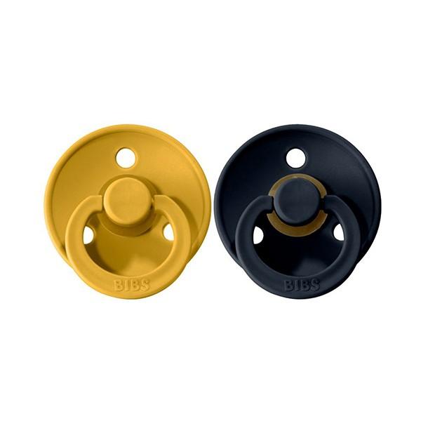 2 Chupetes BIBS Colours Mustard/Dark Denim 0-6