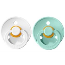 2 Chupetes BIBS Colours Sky White/Mint 0-6