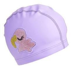 PURPLE FLAMINGO SWIM CAP